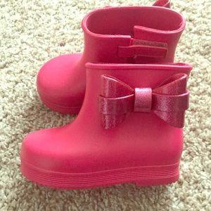 Mini Melissa Sugar Pink boots w/glitter bow